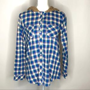 Love Stitch Blue Plaid Long Sleeve Shirt Medium